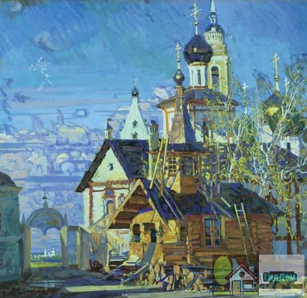 Новоголутвинский монастырь и Соборная площадь на картине М. Абакумова.