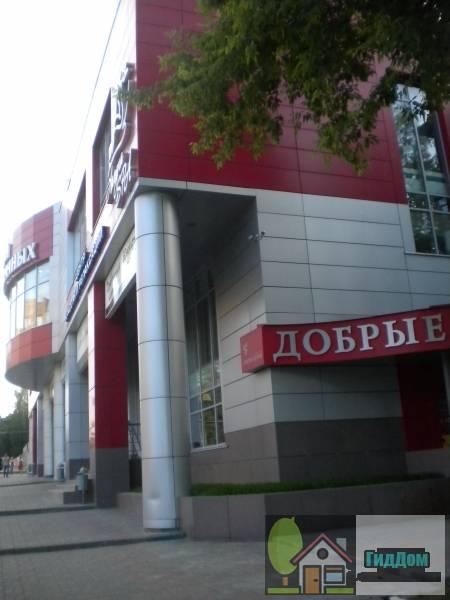 Вид вполоборота на двухэтажный торговый центр (дом №24) на проспекте Кирова с северо-восточной стороны. Снимок сделан в выходной день в светлое время суток при слабой облачности.