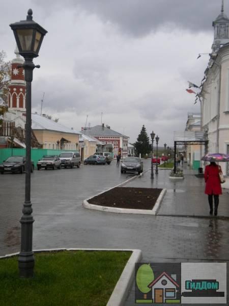 Общий вид на на улицу Лажечникова от здания КЦ Лига с восточной стороны. Снимок сделан в светлое время суток при слабом дожде.