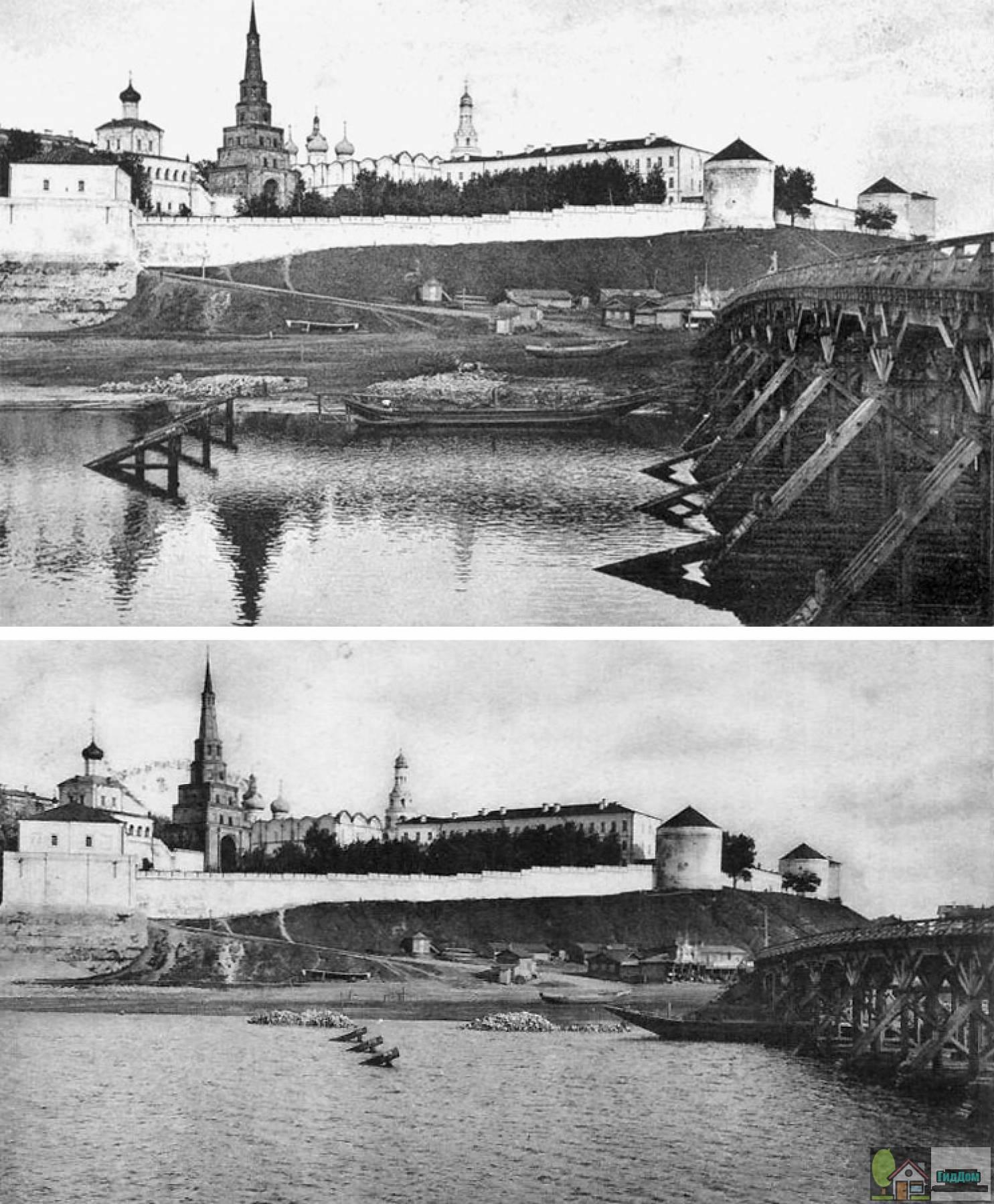 Кизическая дамба (ныне Кремлёвская транспортная дамба, а чуть ранее Ленинская дамба) на фото начала XX века. Файл загружен из открытых источников.