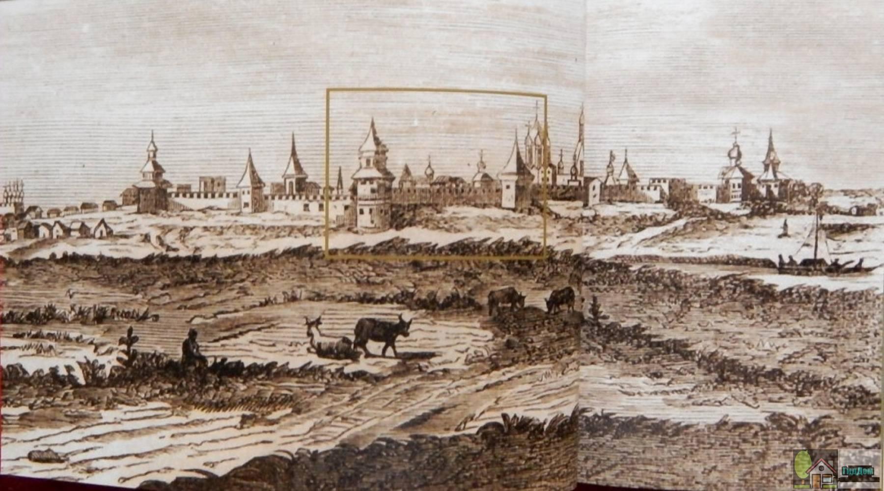Коломенский кремль на рисунке Корнелиуса де Брюина