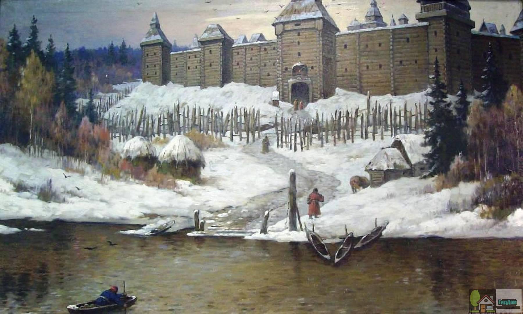 Деревянный Коломенский кремль на картине А. М. Солодкова